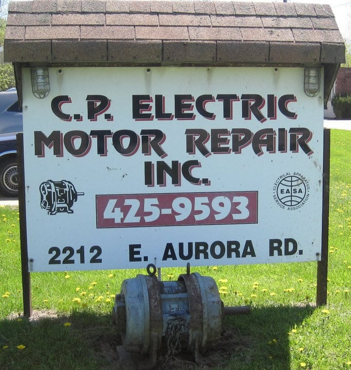 CP Electric Motor Repair Sign